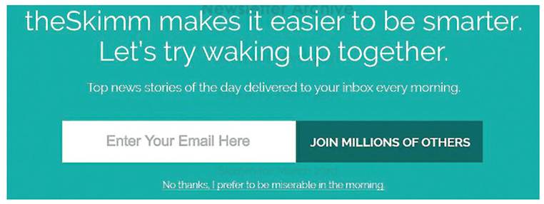 """An example of """"guilt shaming"""" UX, where the user is said to be miserable if they don't sign up to a newsletter"""