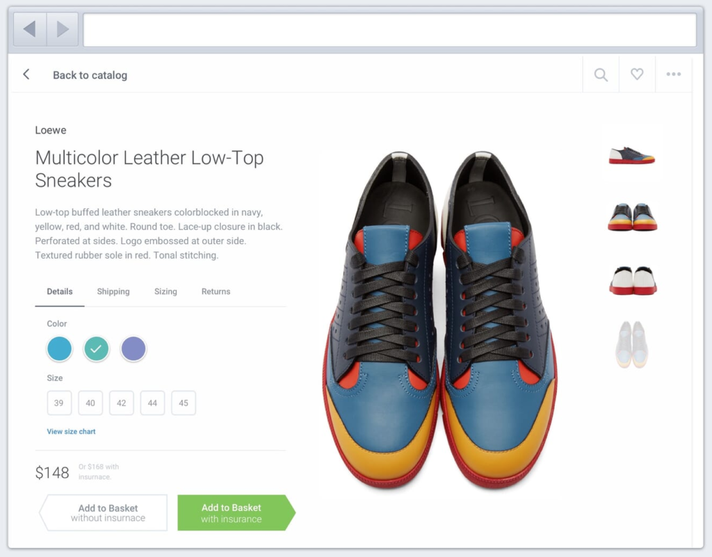 e-commerce basket with manipulative design